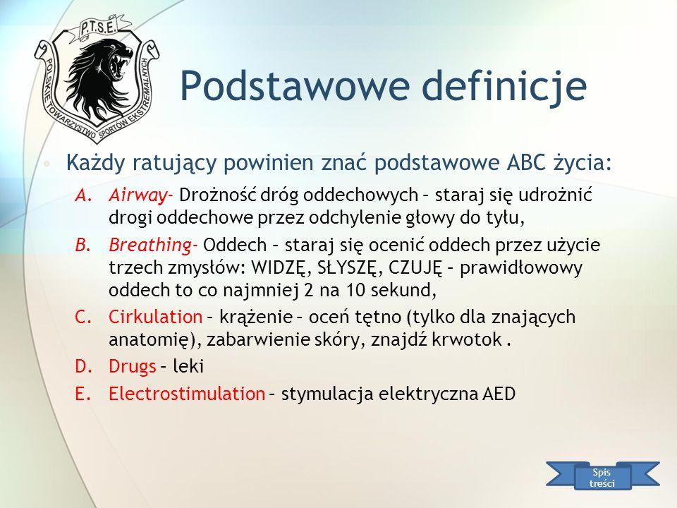 Podstawowe definicje Każdy ratujący powinien znać podstawowe ABC życia: A.Airway- Drożność dróg oddechowych – staraj się udrożnić drogi oddechowe prze