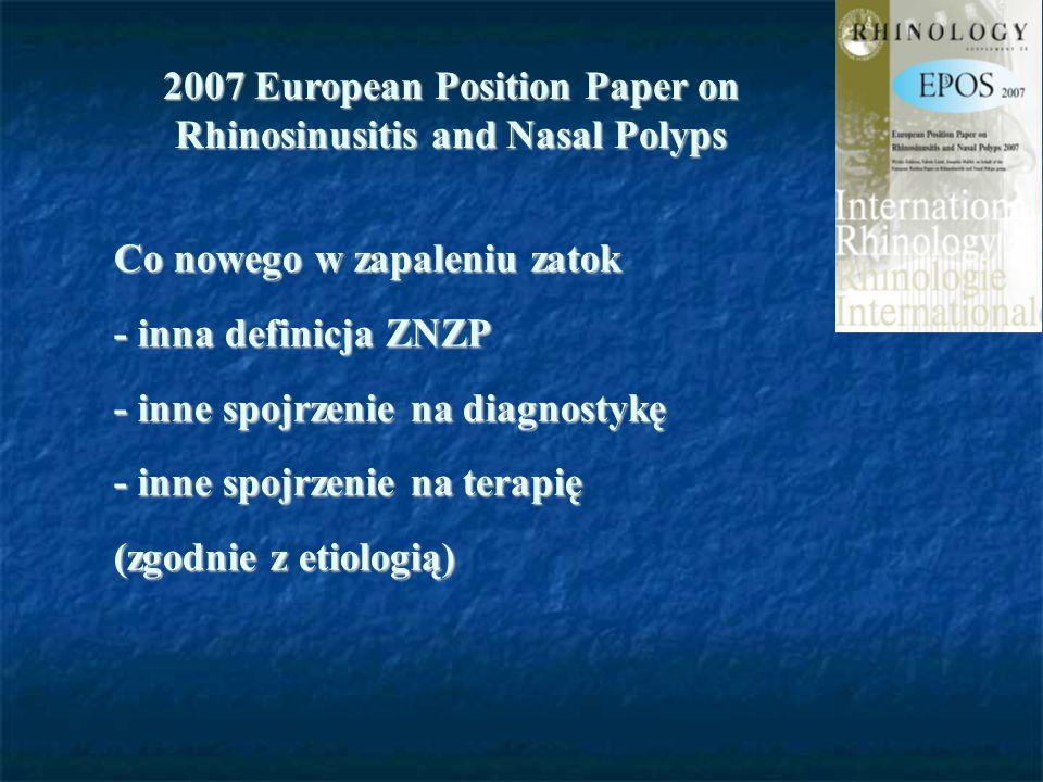 2007 European Position Paper on Rhinosinusitis and Nasal Polyps Co nowego w zapaleniu zatok - inna definicja ZNZP - inne spojrzenie na diagnostykę - i
