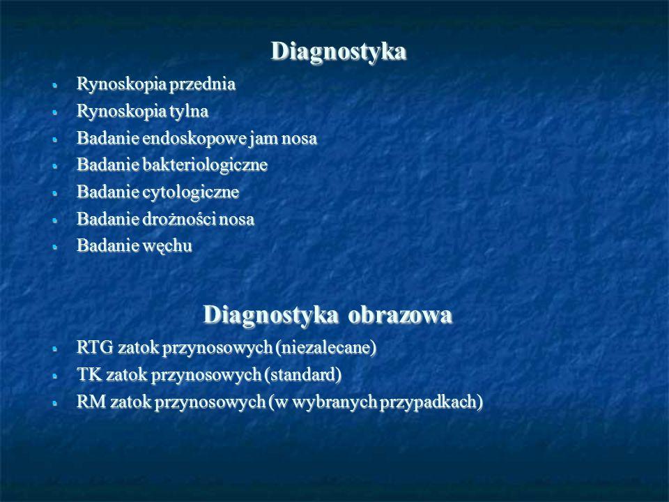 Diagnostyka Diagnostyka  Rynoskopia przednia  Rynoskopia tylna  Badanie endoskopowe jam nosa  Badanie bakteriologiczne  Badanie cytologiczne  Ba