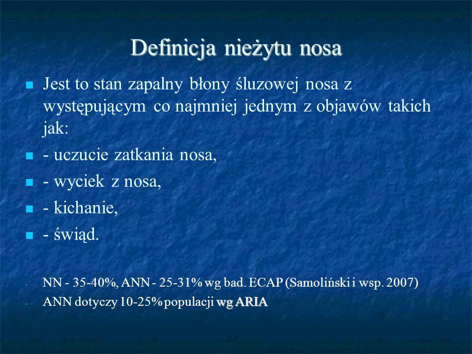 Definicja nieżytu nosa Jest to stan zapalny błony śluzowej nosa z występującym co najmniej jednym z objawów takich jak: - uczucie zatkania nosa, - wyc