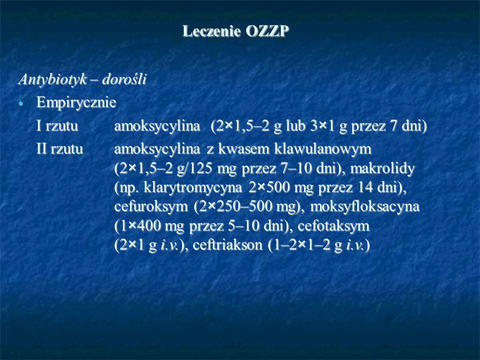 Leczenie OZZP Leczenie OZZP Antybiotyk – dorośli  Empirycznie I rzutu amoksycylina (2×1,5–2 g lub 3×1 g przez 7 dni) II rzutu amoksycylina z kwasem k