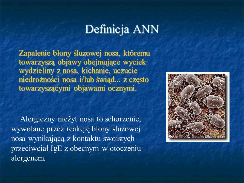 Definicja ANN Alergiczny nieżyt nosa to schorzenie, wywołane przez reakcję błony śluzowej nosa wynikającą z kontaktu swoistych przeciwciał IgE z obecn