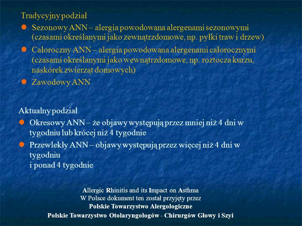 Tradycyjny podział Sezonowy ANN – alergia powodowana alergenami sezonowymi (czasami określanymi jako zewnątrzdomowe, np. pyłki traw i drzew) Całorocz