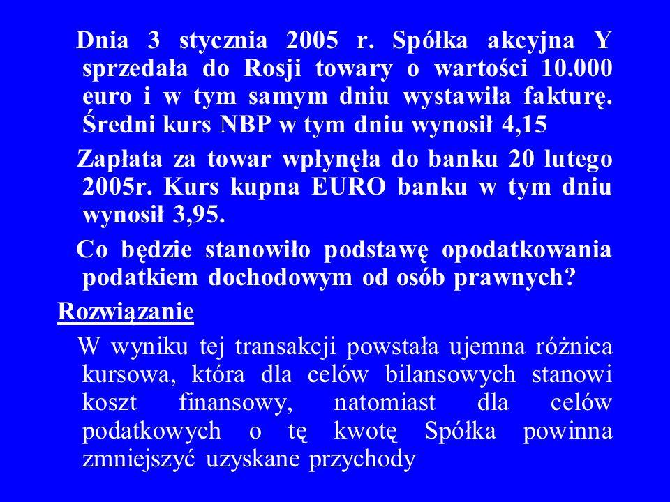 Dnia 3 stycznia 2005 r. Spółka akcyjna Y sprzedała do Rosji towary o wartości 10.000 euro i w tym samym dniu wystawiła fakturę. Średni kurs NBP w tym