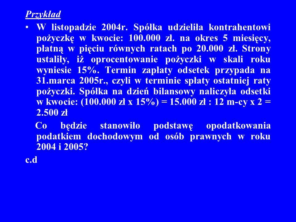 Przykład W listopadzie 2004r. Spółka udzieliła kontrahentowi pożyczkę w kwocie: 100.000 zł. na okres 5 miesięcy, płatną w pięciu równych ratach po 20.