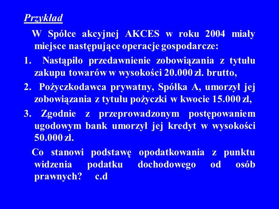 Przykład W Spółce akcyjnej AKCES w roku 2004 miały miejsce następujące operacje gospodarcze: 1. Nastąpiło przedawnienie zobowiązania z tytułu zakupu t
