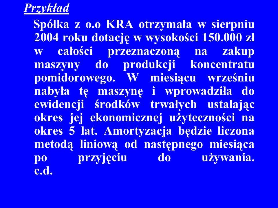 Przykład Spółka z o.o KRA otrzymała w sierpniu 2004 roku dotację w wysokości 150.000 zł w całości przeznaczoną na zakup maszyny do produkcji koncentra