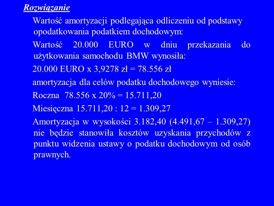 Rozwiązanie Wartość amortyzacji podlegająca odliczeniu od podstawy opodatkowania podatkiem dochodowym: Wartość 20.000 EURO w dniu przekazania do użytk