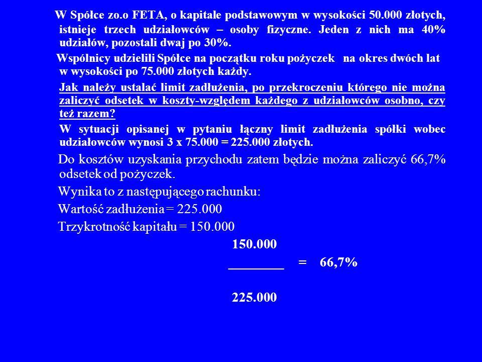 W Spółce zo.o FETA, o kapitale podstawowym w wysokości 50.000 złotych, istnieje trzech udziałowców – osoby fizyczne. Jeden z nich ma 40% udziałów, poz