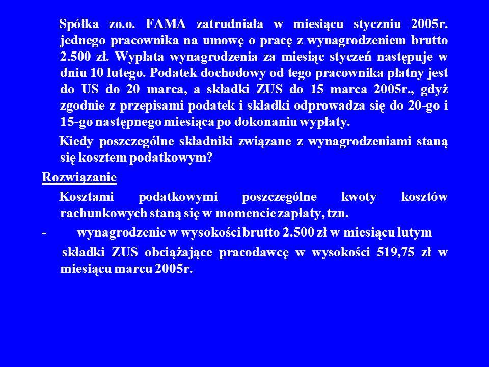 Spółka zo.o. FAMA zatrudniała w miesiącu styczniu 2005r. jednego pracownika na umowę o pracę z wynagrodzeniem brutto 2.500 zł. Wypłata wynagrodzenia z