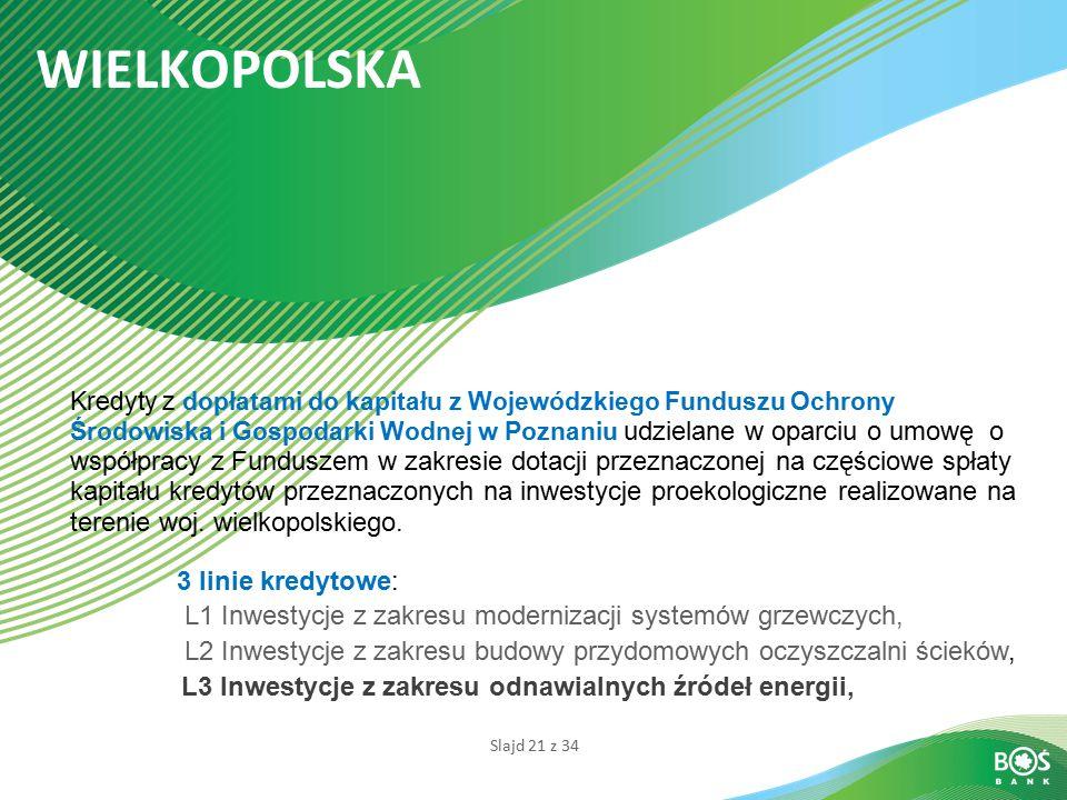 Slajd 21 z 34 WIELKOPOLSKA Kredyty z dopłatami do kapitału z Wojewódzkiego Funduszu Ochrony Środowiska i Gospodarki Wodnej w Poznaniu udzielane w opar