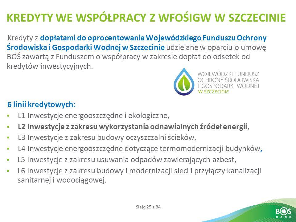 Slajd 25 z 34 KREDYTY WE WSPÓŁPRACY Z WFOŚIGW W SZCZECINIE Kredyty z dopłatami do oprocentowania Wojewódzkiego Funduszu Ochrony Środowiska i Gospodark