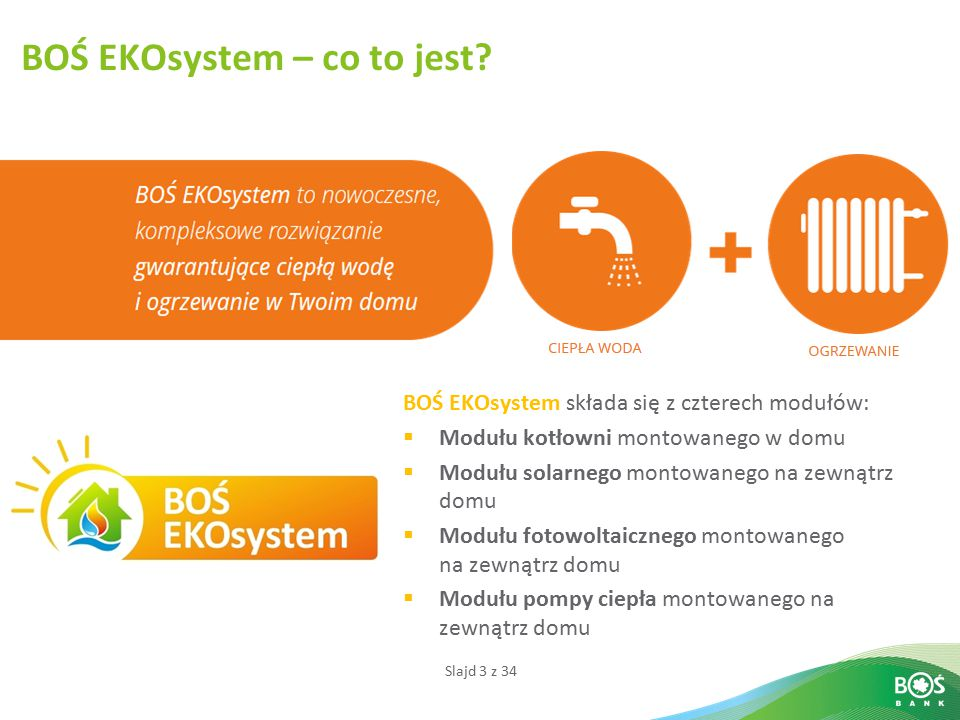Slajd 3 z 34 BOŚ EKOsystem – co to jest? BOŚ EKOsystem składa się z czterech modułów:  Modułu kotłowni montowanego w domu  Modułu solarnego montowan