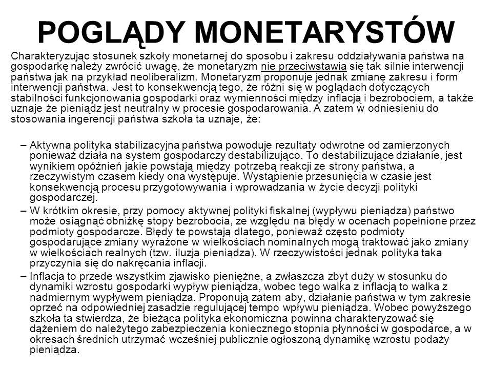 POGLĄDY MONETARYSTÓW Charakteryzując stosunek szkoły monetarnej do sposobu i zakresu oddziaływania państwa na gospodarkę należy zwrócić uwagę, że monetaryzm nie przeciwstawia się tak silnie interwencji państwa jak na przykład neoliberalizm.