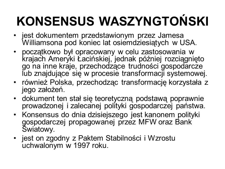 KONSENSUS WASZYNGTOŃSKI jest dokumentem przedstawionym przez Jamesa Williamsona pod koniec lat osiemdziesiątych w USA.