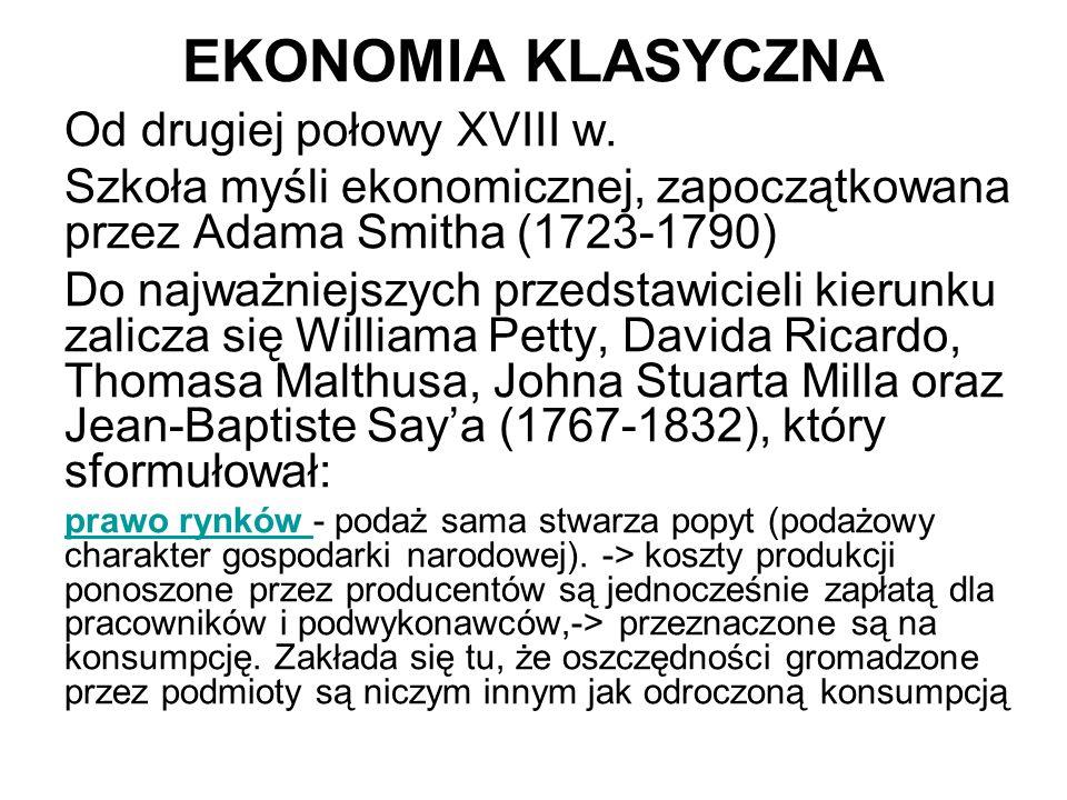 EKONOMIA KLASYCZNA Od drugiej połowy XVIII w.