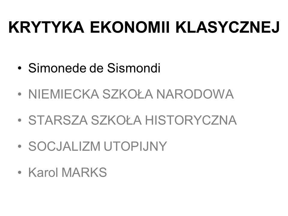 KRYTYKA EKONOMII KLASYCZNEJ Simonede de Sismondi NIEMIECKA SZKOŁA NARODOWA STARSZA SZKOŁA HISTORYCZNA SOCJALIZM UTOPIJNY Karol MARKS