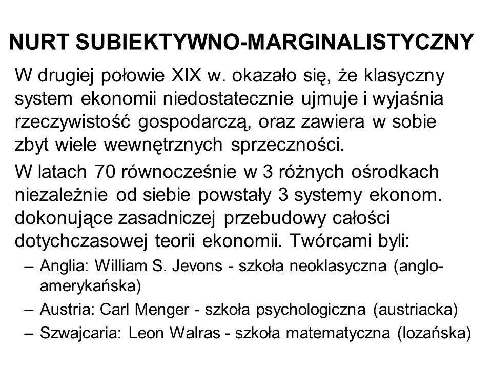 NURT SUBIEKTYWNO-MARGINALISTYCZNY W drugiej połowie XIX w.