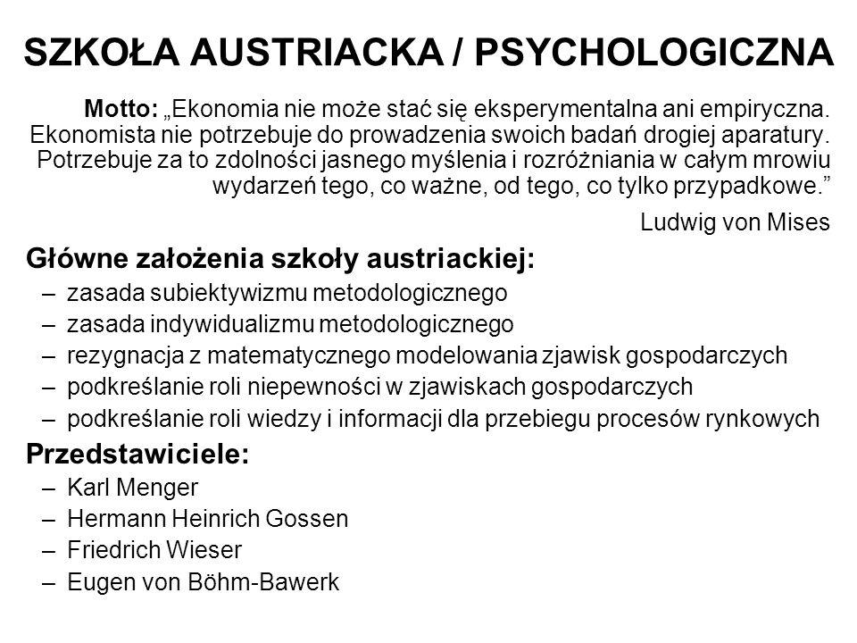 """SZKOŁA AUSTRIACKA / PSYCHOLOGICZNA Motto: """"Ekonomia nie może stać się eksperymentalna ani empiryczna."""
