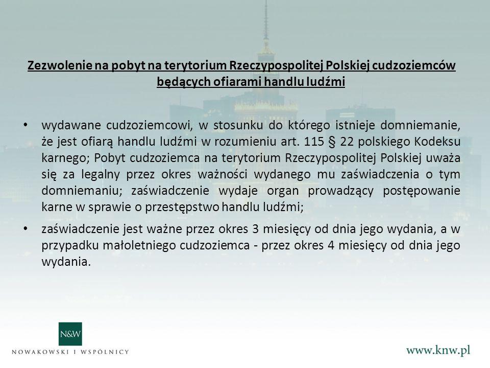 Zezwolenie na pobyt na terytorium Rzeczypospolitej Polskiej cudzoziemców będących ofiarami handlu ludźmi wydawane cudzoziemcowi, w stosunku do którego istnieje domniemanie, że jest ofiarą handlu ludźmi w rozumieniu art.