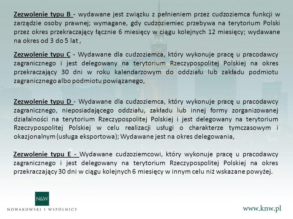 Zezwolenie typu C - Wydawane dla cudzoziemca, który wykonuje pracę u pracodawcy zagranicznego i jest delegowany na terytorium Rzeczypospolitej Polskiej na okres przekraczający 30 dni w roku kalendarzowym do oddziału lub zakładu podmiotu zagranicznego albo podmiotu powiązanego, Zezwolenie typu D - Wydawane dla cudzoziemca, który wykonuje pracę u pracodawcy zagranicznego, nieposiadającego oddziału, zakładu lub innej formy zorganizowanej działalności na terytorium Rzeczypospolitej Polskiej i jest delegowany na terytorium Rzeczypospolitej Polskiej w celu realizacji usługi o charakterze tymczasowym i okazjonalnym (usługa eksportowa); Wydawane jest na okres delegowania, Zezwolenie typu E - Wydawane cudzoziemcowi, który wykonuje pracę u pracodawcy zagranicznego i jest delegowany na terytorium Rzeczypospolitej Polskiej na okres przekraczający 30 dni w ciągu kolejnych 6 miesięcy w innym celu niż wskazane powyżej.