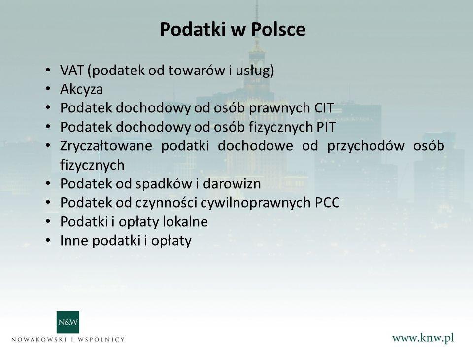Podatki w Polsce VAT (podatek od towarów i usług) Akcyza Podatek dochodowy od osób prawnych CIT Podatek dochodowy od osób fizycznych PIT Zryczałtowane podatki dochodowe od przychodów osób fizycznych Podatek od spadków i darowizn Podatek od czynności cywilnoprawnych PCC Podatki i opłaty lokalne Inne podatki i opłaty