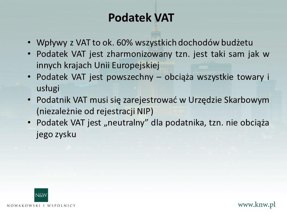 Podatek VAT Wpływy z VAT to ok.