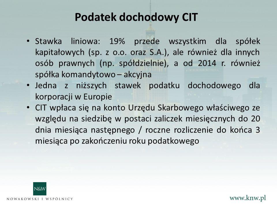 Podatek dochodowy CIT Stawka liniowa: 19% przede wszystkim dla spółek kapitałowych (sp.