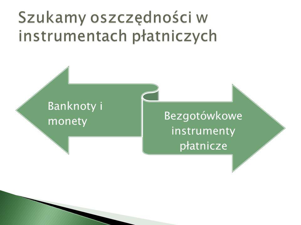 Banknoty i monety Bezgotówkowe instrumenty płatnicze