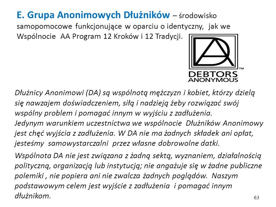 E. Grupa Anonimowych Dłużników – środowisko samopomocowe funkcjonujące w oparciu o identyczny, jak we Wspólnocie AA Program 12 Kroków i 12 Tradycji. D