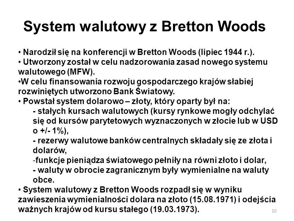 System walutowy z Bretton Woods Narodził się na konferencji w Bretton Woods (lipiec 1944 r.). Utworzony został w celu nadzorowania zasad nowego system