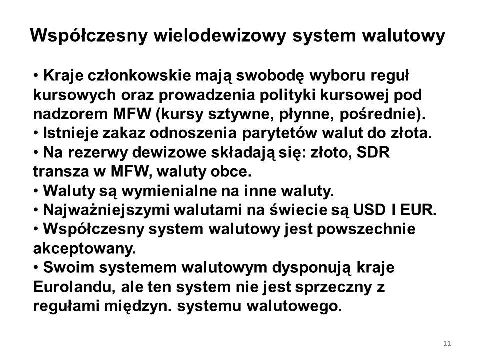 Współczesny wielodewizowy system walutowy Kraje członkowskie mają swobodę wyboru reguł kursowych oraz prowadzenia polityki kursowej pod nadzorem MFW (