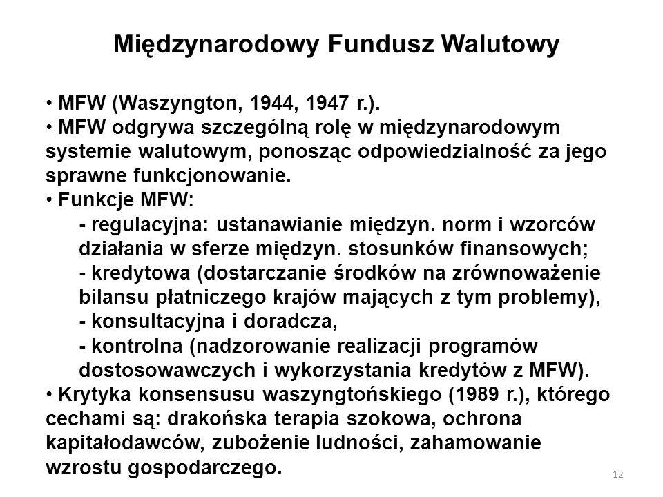 Międzynarodowy Fundusz Walutowy MFW (Waszyngton, 1944, 1947 r.). MFW odgrywa szczególną rolę w międzynarodowym systemie walutowym, ponosząc odpowiedzi