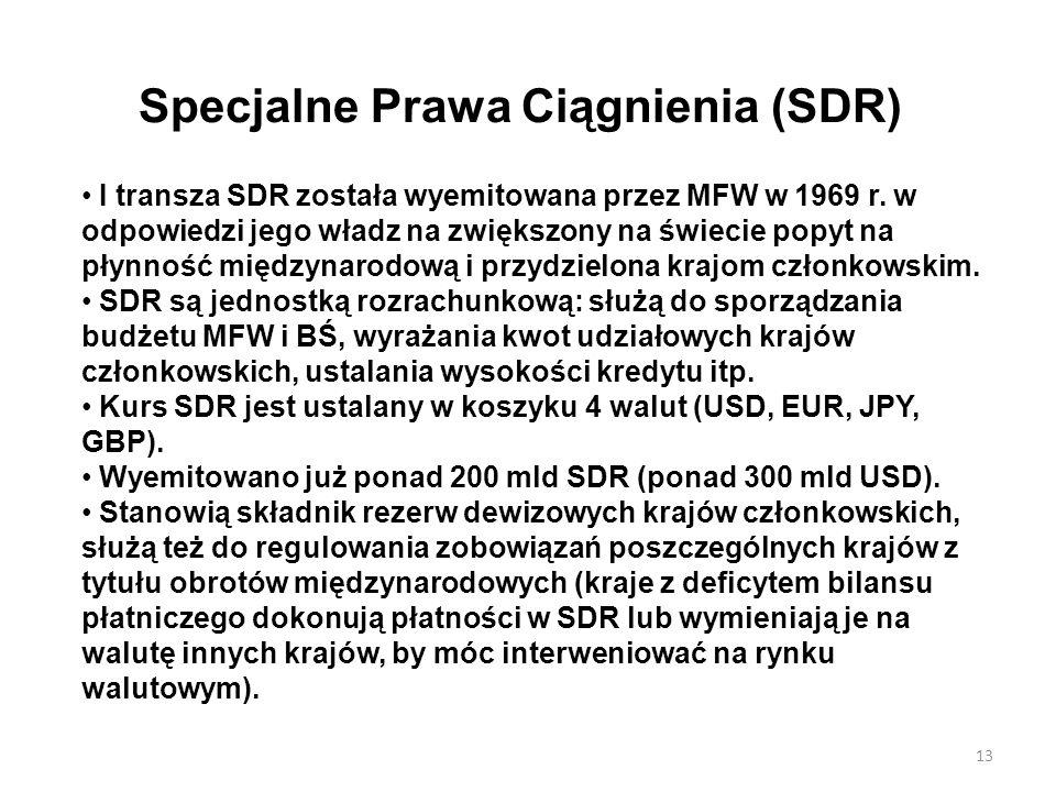 Specjalne Prawa Ciągnienia (SDR) I transza SDR została wyemitowana przez MFW w 1969 r. w odpowiedzi jego władz na zwiększony na świecie popyt na płynn