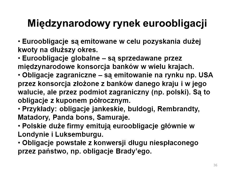 Międzynarodowy rynek euroobligacji Euroobligacje są emitowane w celu pozyskania dużej kwoty na dłuższy okres. Euroobligacje globalne – są sprzedawane