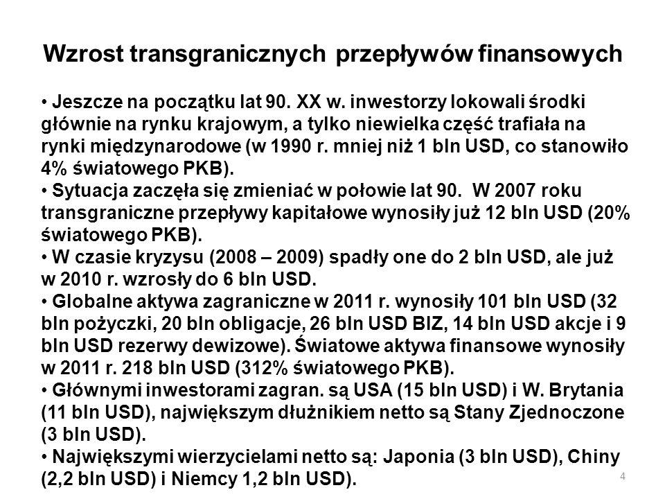 Wzrost transgranicznych przepływów finansowych Jeszcze na początku lat 90. XX w. inwestorzy lokowali środki głównie na rynku krajowym, a tylko niewiel