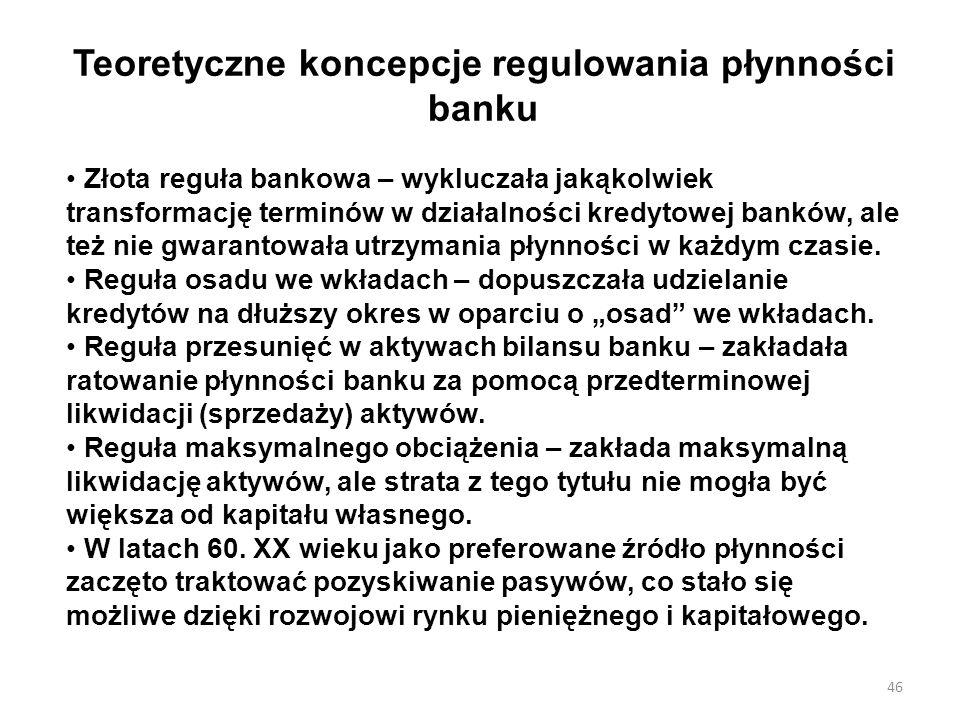 Teoretyczne koncepcje regulowania płynności banku Złota reguła bankowa – wykluczała jakąkolwiek transformację terminów w działalności kredytowej banków, ale też nie gwarantowała utrzymania płynności w każdym czasie.