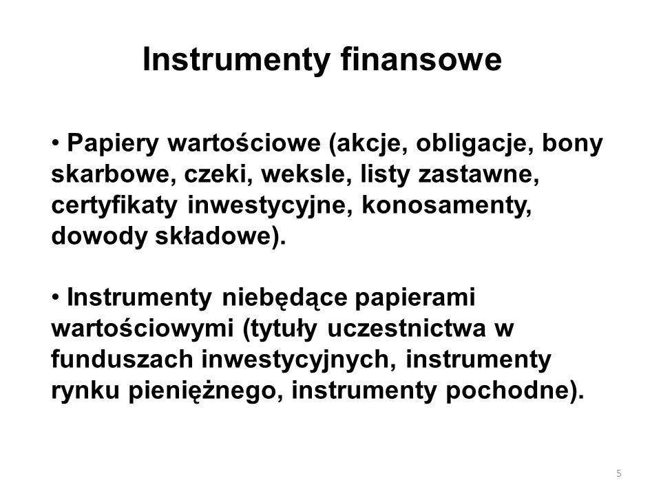 Instrumenty finansowe Papiery wartościowe (akcje, obligacje, bony skarbowe, czeki, weksle, listy zastawne, certyfikaty inwestycyjne, konosamenty, dowody składowe).