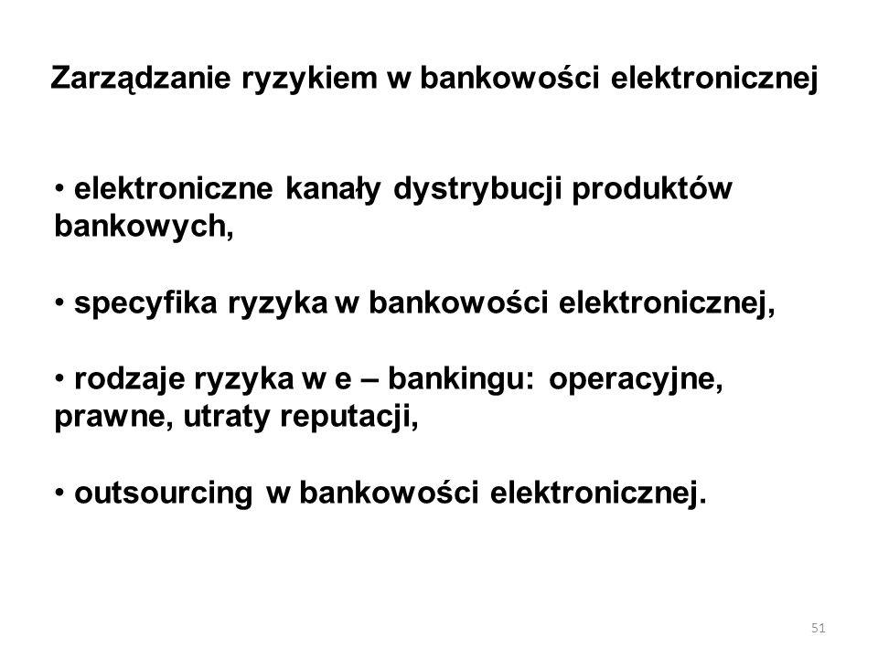 Zarządzanie ryzykiem w bankowości elektronicznej elektroniczne kanały dystrybucji produktów bankowych, specyfika ryzyka w bankowości elektronicznej, rodzaje ryzyka w e – bankingu: operacyjne, prawne, utraty reputacji, outsourcing w bankowości elektronicznej.