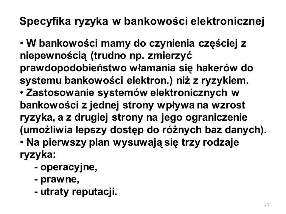 Specyfika ryzyka w bankowości elektronicznej W bankowości mamy do czynienia częściej z niepewnością (trudno np. zmierzyć prawdopodobieństwo włamania s
