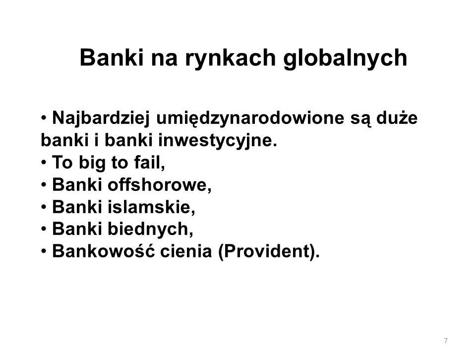 Banki na rynkach globalnych Najbardziej umiędzynarodowione są duże banki i banki inwestycyjne. To big to fail, Banki offshorowe, Banki islamskie, Bank
