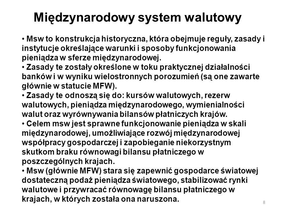 Międzynarodowy system walutowy Msw to konstrukcja historyczna, która obejmuje reguły, zasady i instytucje określające warunki i sposoby funkcjonowania