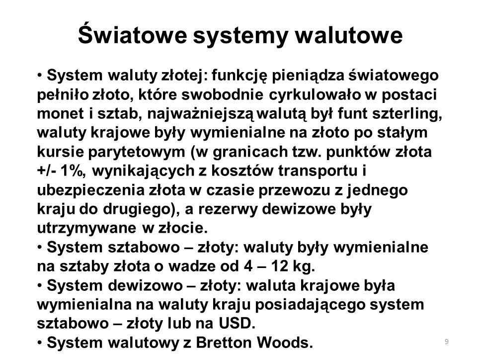 Światowe systemy walutowe System waluty złotej: funkcję pieniądza światowego pełniło złoto, które swobodnie cyrkulowało w postaci monet i sztab, najwa