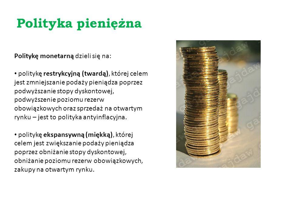 Politykę monetarną dzieli się na: politykę restrykcyjną (twardą), której celem jest zmniejszanie podaży pieniądza poprzez podwyższanie stopy dyskontow