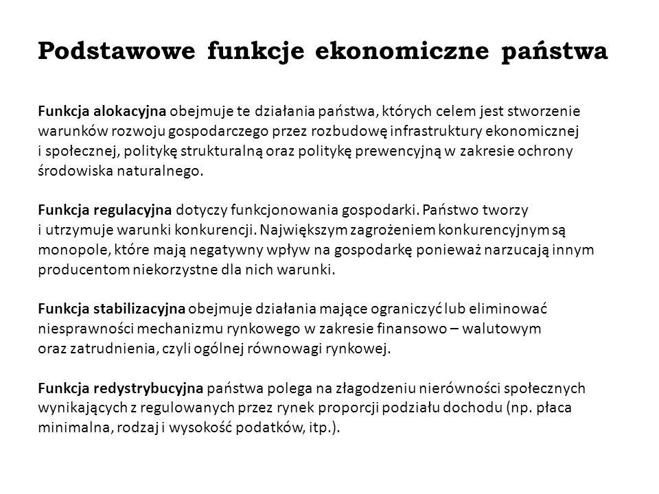 Podstawowe funkcje ekonomiczne państwa Funkcja alokacyjna obejmuje te działania państwa, których celem jest stworzenie warunków rozwoju gospodarczego