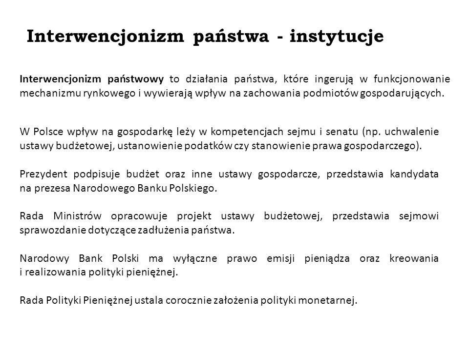 Interwencjonizm państwa - instytucje W Polsce wpływ na gospodarkę leży w kompetencjach sejmu i senatu (np. uchwalenie ustawy budżetowej, ustanowienie