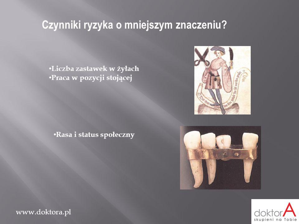 www.doktora.pl Czynniki ryzyka o mniejszym znaczeniu? Liczba zastawek w żyłach Praca w pozycji stojącej Rasa i status społeczny