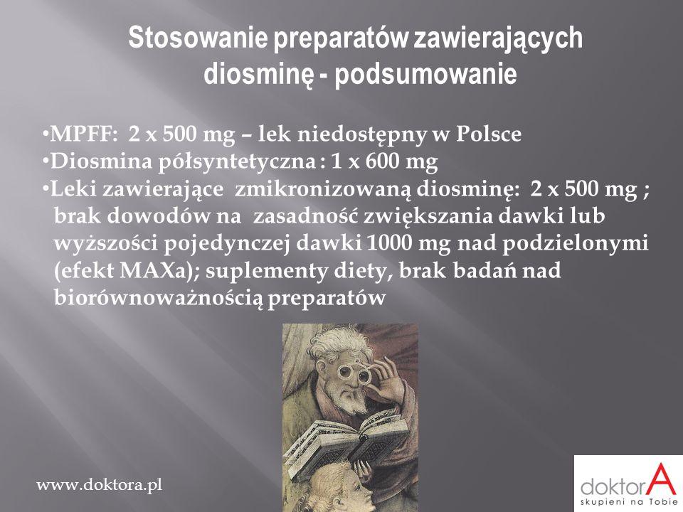 www.doktora.pl Stosowanie preparatów zawierających diosminę - podsumowanie MPFF: 2 x 500 mg – lek niedostępny w Polsce Diosmina półsyntetyczna : 1 x 6