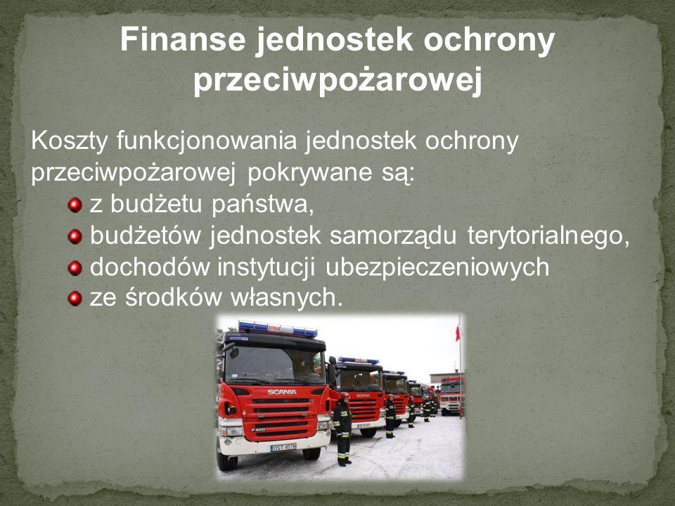 Finanse jednostek ochrony przeciwpożarowej Koszty funkcjonowania jednostek ochrony przeciwpożarowej pokrywane są: z budżetu państwa, budżetów jednoste