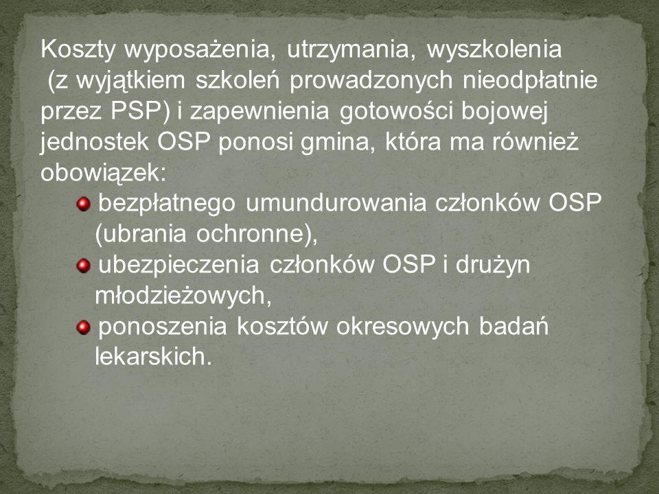 Koszty wyposażenia, utrzymania, wyszkolenia (z wyjątkiem szkoleń prowadzonych nieodpłatnie przez PSP) i zapewnienia gotowości bojowej jednostek OSP po
